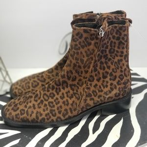 Topshop Shoes - Topshop Aubrey Leopard Print Flat Leather Boots